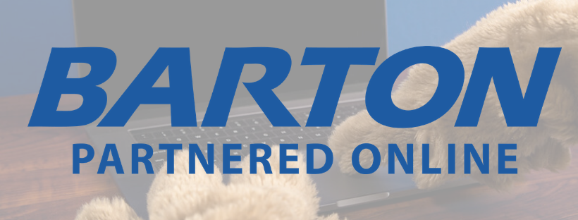Barton Partnered Online logo in blue over photo of cougar paws typing on laptop