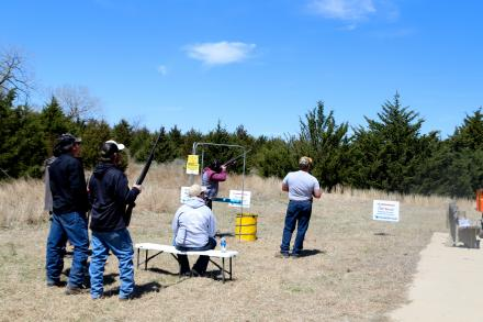 Shooters at the 2019 Clay Shoot take their turns at one of the stations.